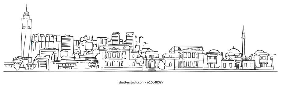 Sarajevo Bosnia and Herzegovina Panorama Sketch, Monochrome Urban Cityscape Vector Artprint