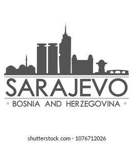 Sarajevo Bosnia and Herzegovina Skyline Silhouette Design City Vector Art Famous Buildings