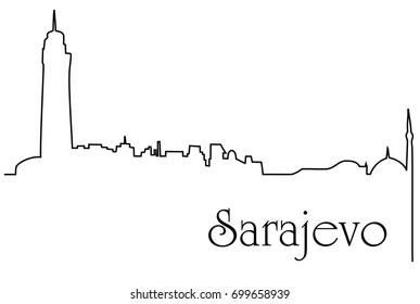 Sarajevo city one line drawing background