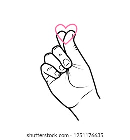 Saranhe. Love. Gesture love. Girl's hand and heart. Korean greeting gesture. Vector graphics. Romance and love. Circuit. a heart. Illustration.