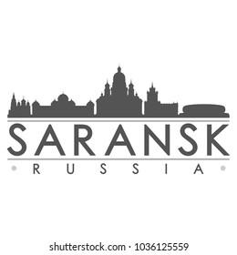 Saransk Russia Skyline Silhouette Design City Vector Art Famous Buildings