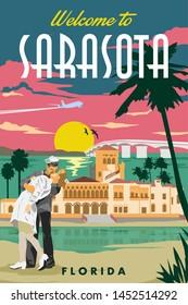 Sarasota Vintage Travel Vector Poster Design