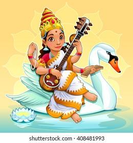 Sarasvati, Hindu goddess of knowledge, music, arts, wisdom and learning. Vector cartoon illustration.