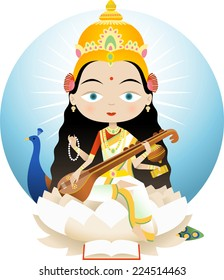 Saraswati In Hinduism is the goddess of knowledge, music and the arts. She is the consort of Brahma, Saraswati is considered to be the mother of the Vedas.
