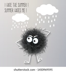 Sarcasm summer banner with fluffy black creature