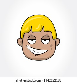 Sarcastic Avatar Face. Fun Cartoon Face. Vector Emoji.
