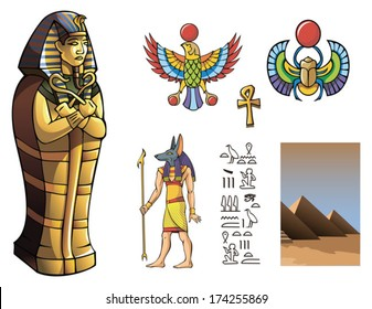 Sarcophagus of Egyptian pharaoh and other elements for design of ancient Egypt, vector illustration