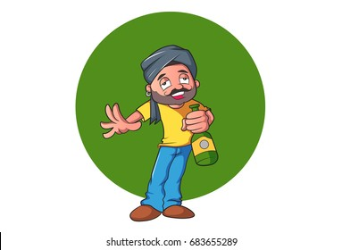 Sardar Ji with alcohol bottle. vector illustration. Isolated on white background.