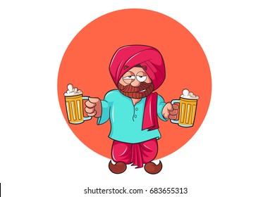 Sardar Ji with beer Mugs. vector illustration. Isolated on white background.