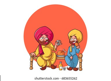Sardar Ji having Fun . vector illustration. Isolated on white background.