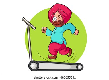 Sardar Ji running on  a trade mill. vector illustration. Isolated on white background.