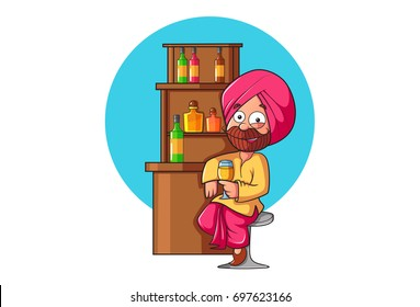 Sardar Ji sitting at the bar and having a drink. Vector Illustration. Isolated on white background.