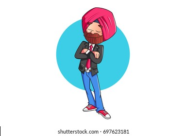 Sardar Ji Standing. Vector Illustration. Isolated on white background.