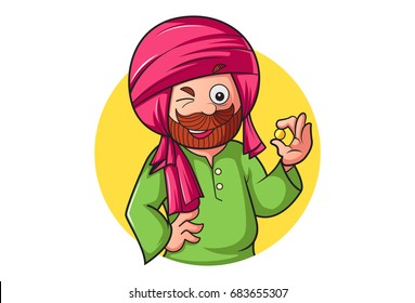 Sardar Ji winking. vector illustration. Isolated on white background.