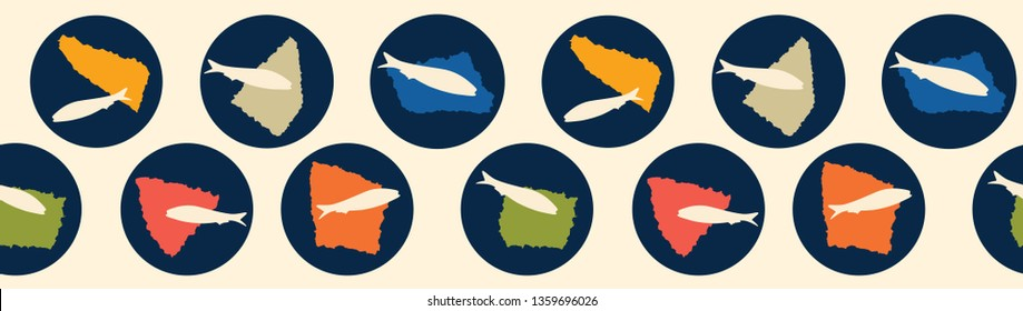 Sardine circle seamless vector border pattern of grilled fishes. Lisbon St Antonio traditional portugese food festival. June Portugal street party icon . Atlantic ocean animal ribbon, fishing banner.