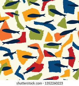 Sardine fish swimming seamless vector pattern. Lisbon St Antonio traditional portugese food festival grilled fishes. June Portugal street party . Atlantic ocean animal symbol. Isolated fishing tourism