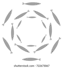 Sardine gray fish set. Iwashi. Sardina pilchardus school. Cute cartoon character. Anchovy pilchard. Water animal Marine life. Round circle frame. Flat design. White background. Isolated. Vector