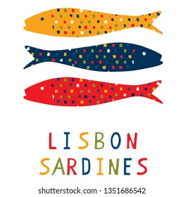 Sardine motif clipart with Lisbon text.  Grilled fishes symbol for St Antonio traditional portugese food festival. June Portugal party . Atlantic blue ocean animal. Isolated fishing icon lettering