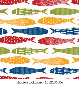 Sardine shoal of fish seamless vector pattern of grilled fishes. Lisbon St Antonio traditional portugese food festival. June Portugal street party. Atlantic ocean animal symbol. Isolated fishing icon