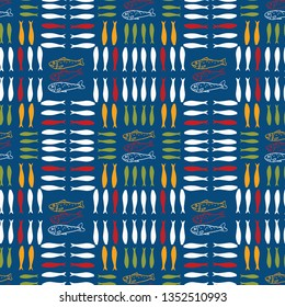 Sardine shoal of fish seamless vector pattern. Lisbon St Antonio traditional portugese food festival grilled fishes. June Portugal street party . Atlantic ocean animal symbol. Isolated fishing tourism