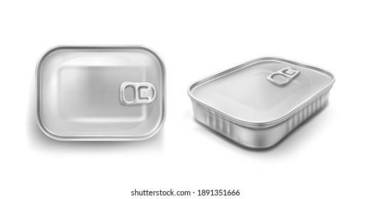 Sardine tin은 잡아당기는 링 모형 위쪽과 각도 뷰를 가지고 있다. 밀폐된 뚜껑이 있는 푸드메탈 항아리, 은색의 알루미늄색 사각형이 흰색 배경에 분리된 캐니스터를 보존하고 현실적인 3d 벡터 아이콘