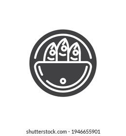 정어리는 벡터 아이콘을 만들 수 있다. 모바일 개념과 웹 디자인을 위한 플랫 기호 고정된 생선 상형 아이콘. 기호, 로고 그림 벡터 그래픽