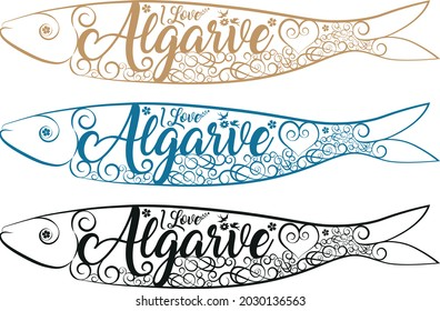 Sardines illustration. ilove Algarve Sardines.