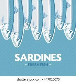 Sardines, Sardina pilchardus. Vector illustration. Advertising, menu or packaging cool design elements.