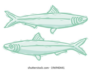 Sardines woodcut