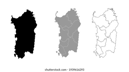 Sardinia Italy Map Black Silhouette and Outline With Regions Border Vector