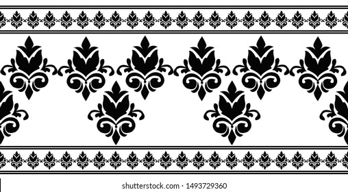 Fancy floral borders on white background.