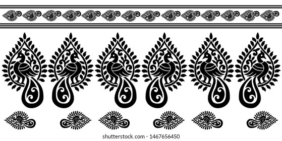 Saree Border design Concept of Peacock with Flower petals and Leaves - Indian Traditional and Cultural Rangoli, Alpona, Kolam or Paisley vector line art