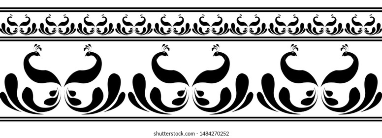 Saree Border design concept of Two Peacocks facing each other - Indian Traditional and Cultural Rangoli, Alpona, Kolam or Paisley vector line art