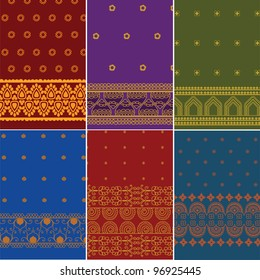 Sari Borders(zari) - Very Detailed and easily editable - Indian textile art inspired Sari / Saree pattern