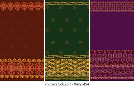 Sari Borders(zari) - Very Detailed and easily editable - Indian textile art inspired Sari / Saree pattern