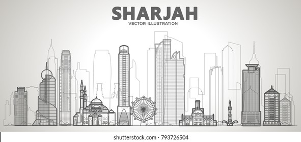 Sarjah line city skyline on a white background. Flat vector illustration. Business travel and tourism concept with modern buildings. Image for banner or web site
