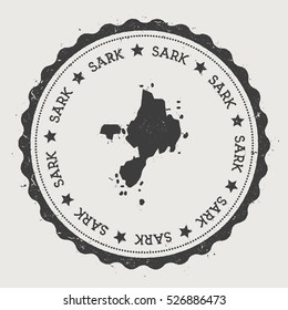Sark vector sticker. Hipster round rubber stamp with island map. Vintage passport stamp with circular Sark text and stars, vector illustration.