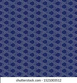 Sashiko kimono pattern. Imitation of bamboo basket weaving. Abstract seamless texture. Japanese embroidery ornament. White stitches on the indigo blue background. For decoration or printing on fabric.