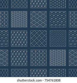 Sashiko seamless indigo dye pattern with traditional white Japanese embroidery, vector illustration