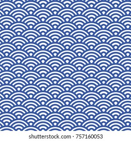 Sashiko seamless pattern with traditional Japanese embroidery, vector illustration. Traditional Japanese Folk Seigaiha