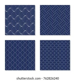 Sashiko. Seamless patterns. Set of abstract textures. Japanese motifs. Four simple backgrounds - shell, pine bark, fishing scales and weaving. Indigo lines and stitches. For pattern fills.