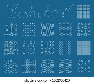 Sashiko. Set of seamless patterns for embroidery. Japanese motifs. Sixteen simple backgrounds. Indigo lines and stitches. For pattern fills.