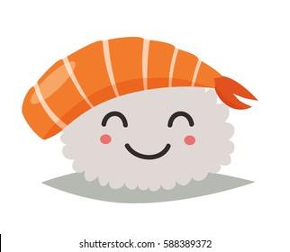Sashimi happy emoji vector illustration. Emoji happy sushi in sunglasses icons. Sashimil whith shrimp funny stickers. Food, cartoon style. Sushi isolated on white background