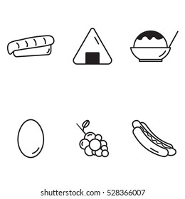 sashimi, onigiri, shaved ice, egg, grape, hotdog set collection outline icons vector with white Background