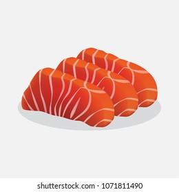 Sashimi Salmon vector. Japan food