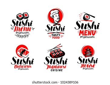 Sashimi, sushi, logo or label set. Japanese cuisine, healthy food typography. Lettering vector illustration