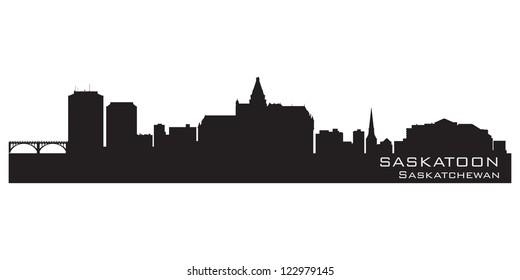 Saskatoon, Canada skyline. Detailed silhouette. Vector illustration