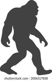 sasquatch bigfoot flat black vector art