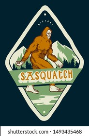 sasquatch t-shirt print - bigfoot walking in the mountains - vintage typography illustration badge