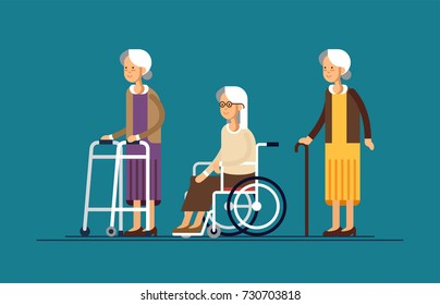 Sat of grandmothers in a wheelchair and with walking stick and paddle walker. Vector illustration in a flat style of elderly woman